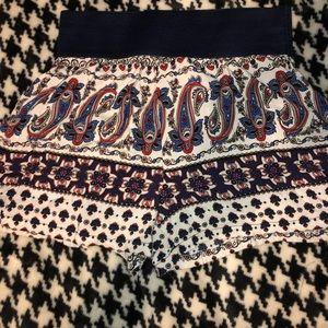Paisley print fabric shorts